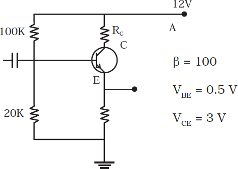 In the circuit shown in Fig., find the value ofR C