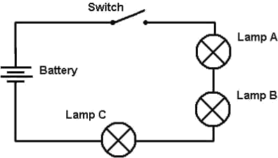 Image Three bulb connected back circuit diagram