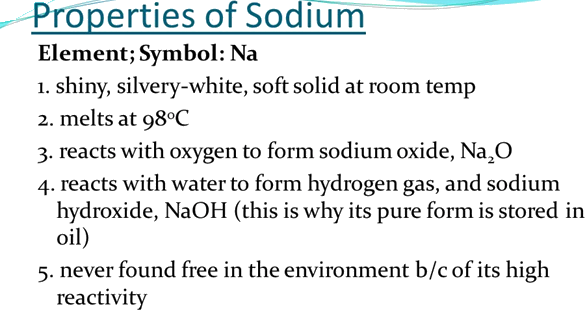 Image the properties of sodium