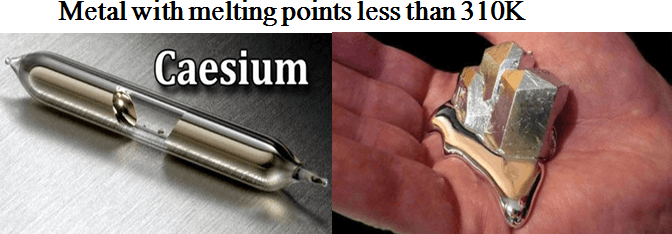 Images show in Two metals with melting points
