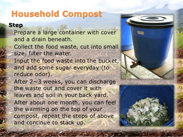 Image of steps for convert kitchen garbage into manure