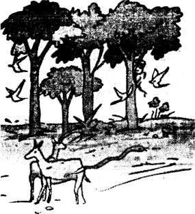 Image showing two animals and a few trees