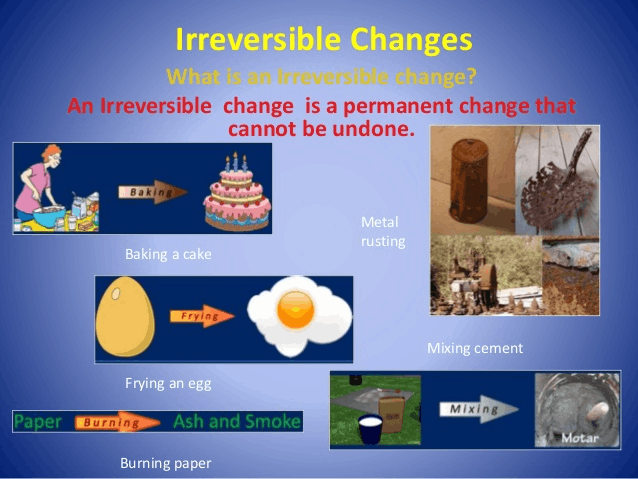 Image of not reversible exaple of physical change