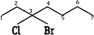 Q 4 Ans D Structure of 3- Bromo – 3 – Chloroheptane