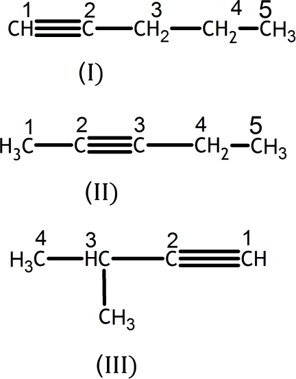 Q 3 B Structure of Isomers with One Triple Bond