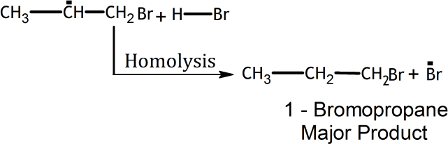 Q 16 Ans 4 Structure of 1- Bromopropane Major Product