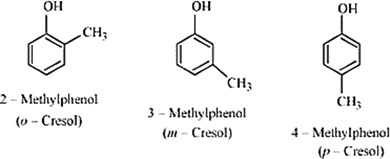 Q 7 1 The Structure and IUPAC names of Monohydric Phenols of Molecular