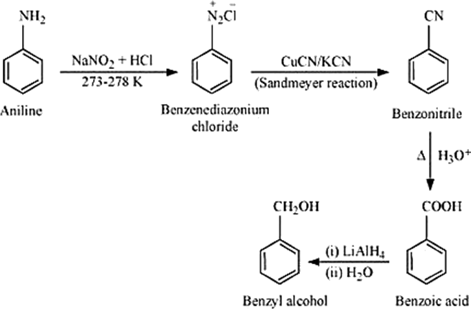 Q 8 ix Structure of Aniline to Benzyl Alcohol