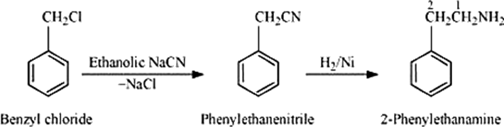 Q 8 v Structure of Benzyl Chloride to 2-phenylethanamine