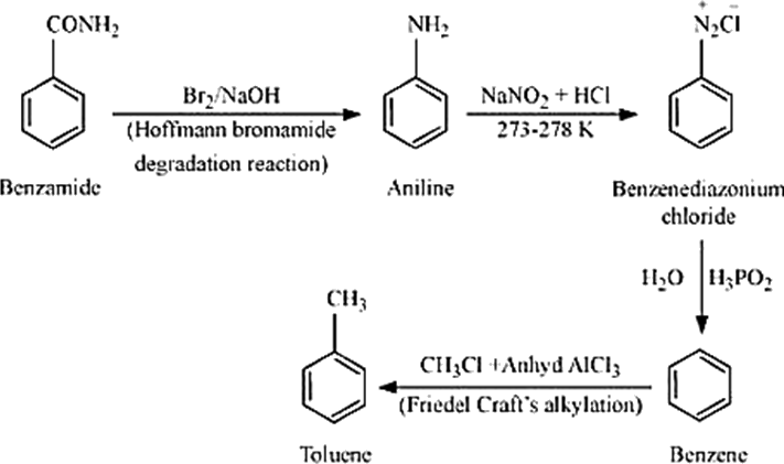 Q 8 viii Structure of Benzamide to Toluene