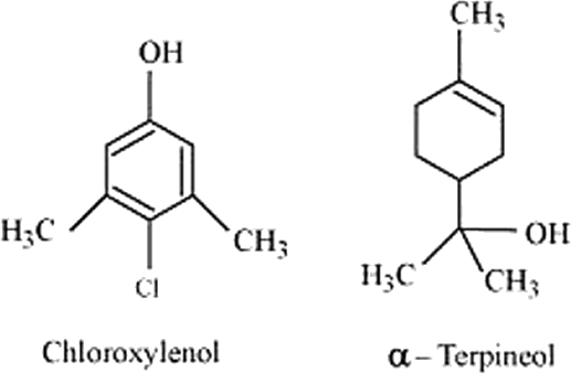 Q 13 Structure of Chloroxylenol and α-terpineol