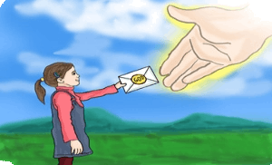 Delivering letter to God: Illustrated image