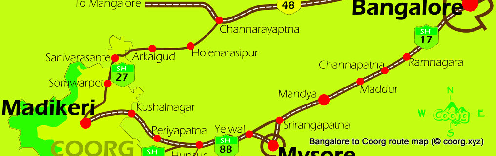 There are two routes to get from Bangalore to Coorg