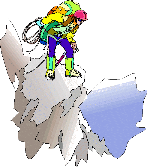 Mountaineer on top in precarious position