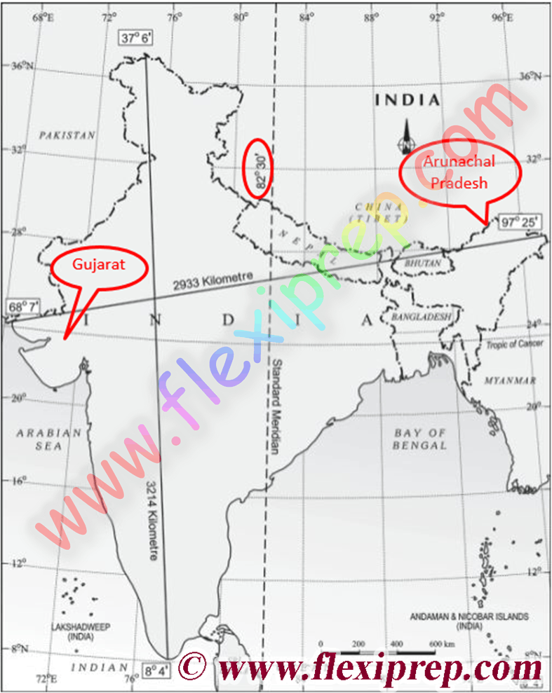 the longitudinal extent of India from Gujarat to Arunachal Pradesh