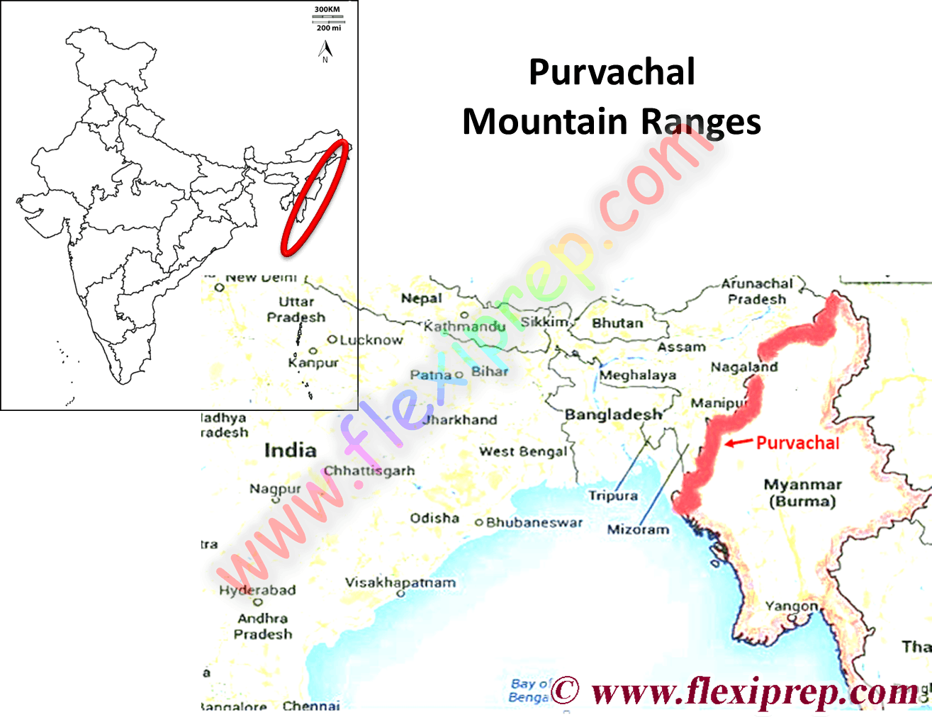 Purvachal a Mountain ranges in the eastern part of India share boundary with Myanmar