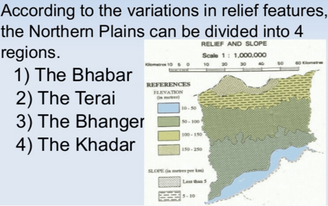 Division of Nothern plains into various regions of Bhabar, terai, bhanger and khadar