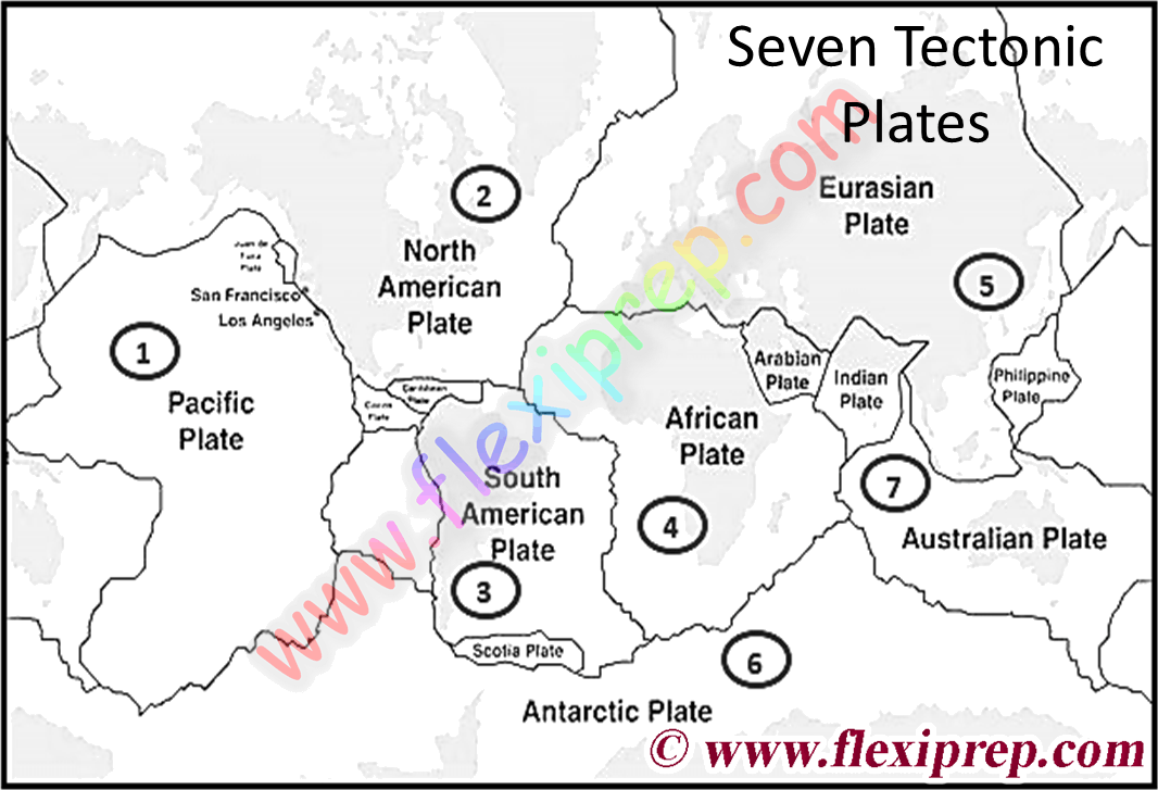 Seven major tectonic plates