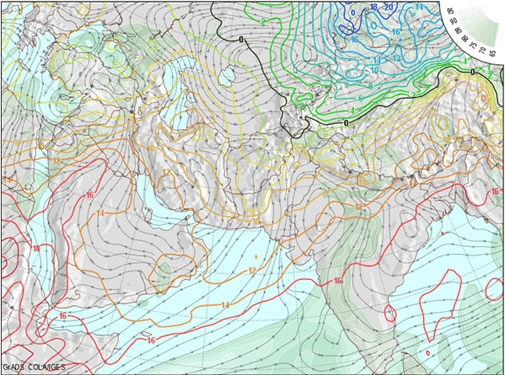GFS weather map showing atmospheric conditions at an altitude of 5,000 feet above the ground (Courtesy: NCEP/COLA)