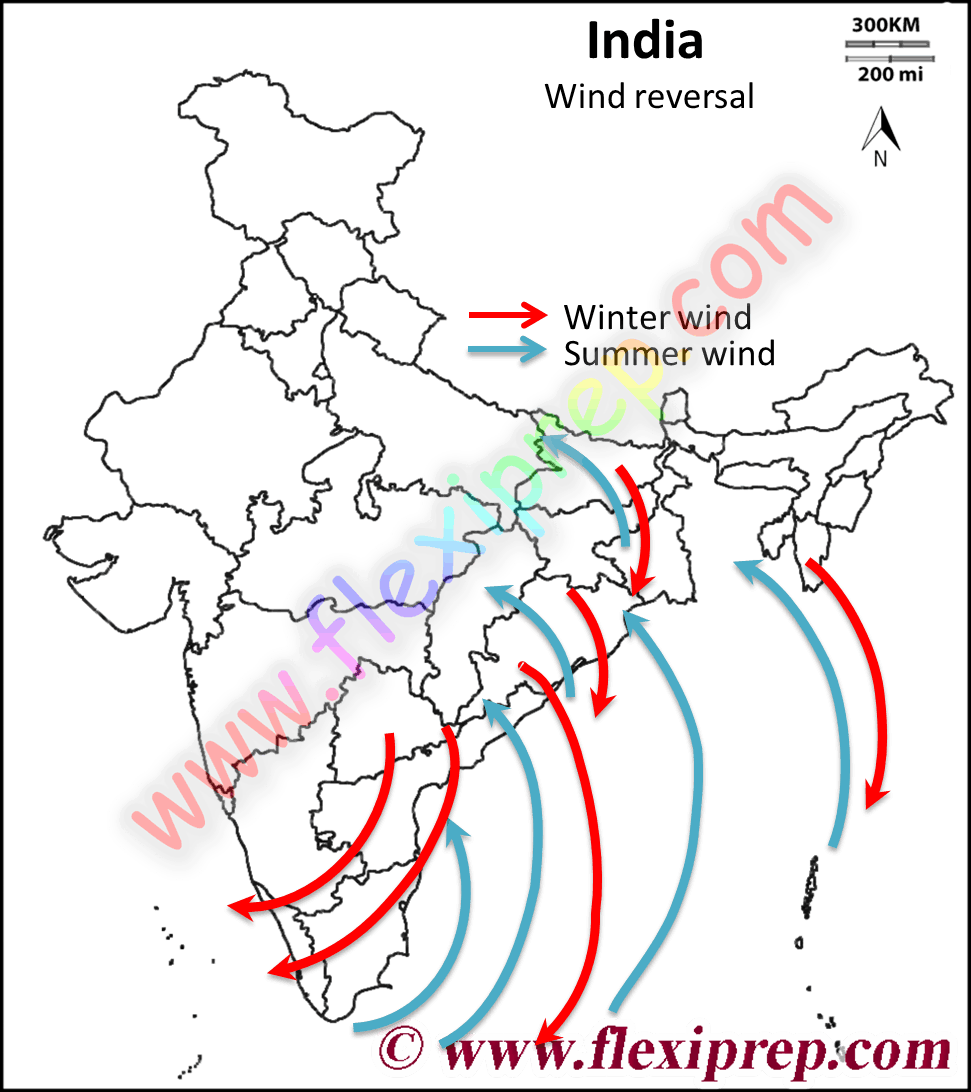 Monsoons in India and wind reversal