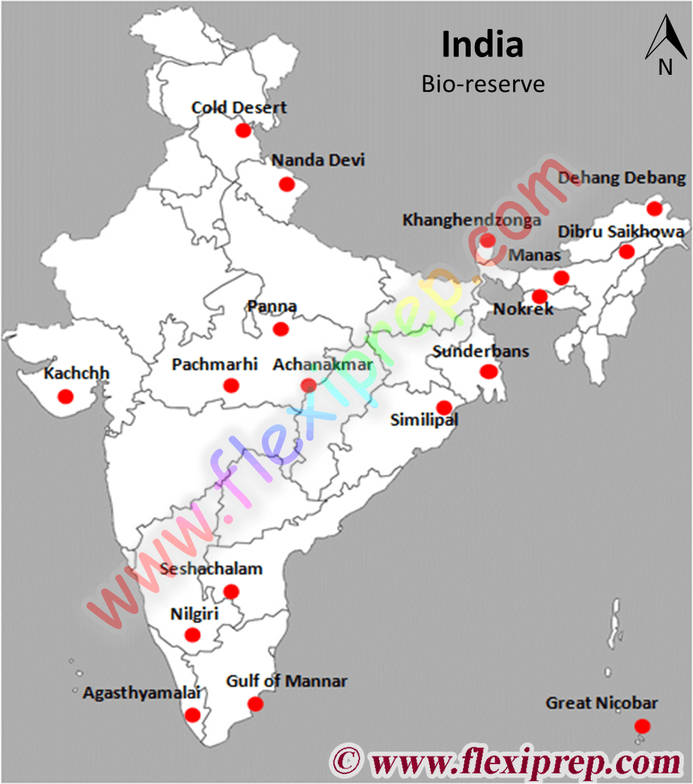Bio-reserve in India marked in a map