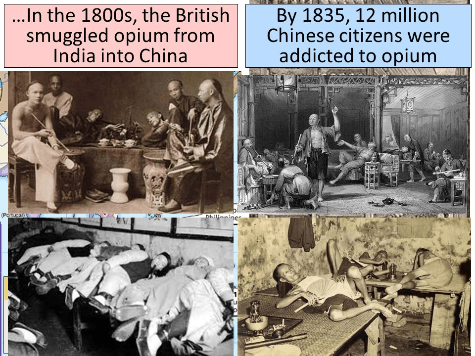 Britishers ensuring the opiom trade from India to China