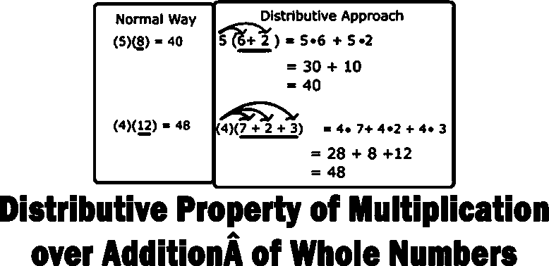 Distributive property of multiplication over addition of whole numbers