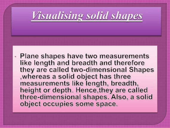 Understanding of visualizing solid shapes