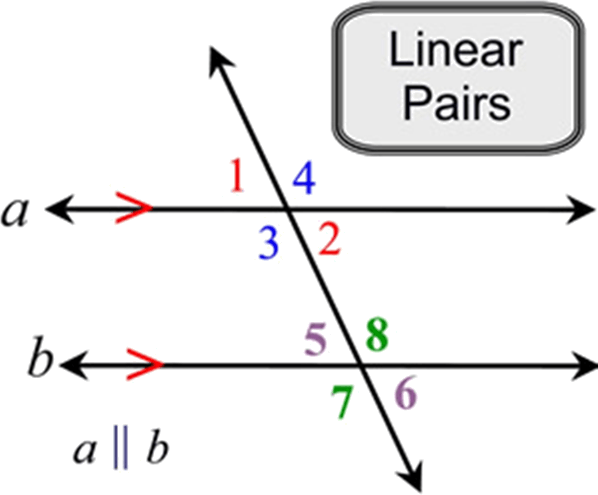 Understanding of Linear Pair, a straight angle contains 180 degree, the two angles forming a linear pair also contain 180 degree when their measures are added