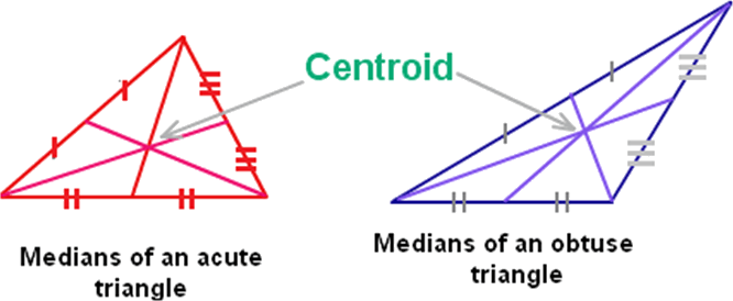 Given median of an acute triangle, median of an obtuse trian …