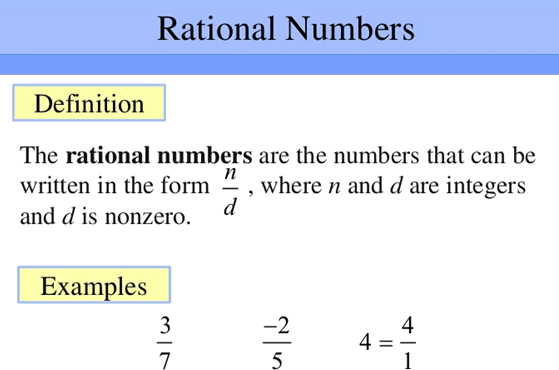 Definition of Rational Numbers