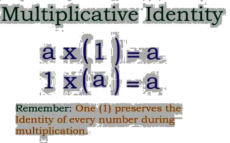 Given the multiplicative identity is using the equations