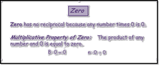 Given the zero has no reciprocals because any number times zero is zero