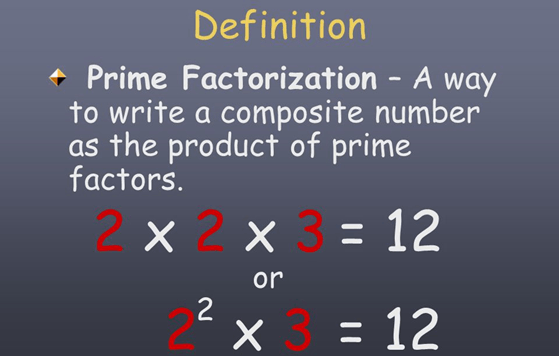 Definition of prime factorization with example