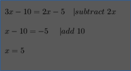 Given this figure Subtract and add linear equaction