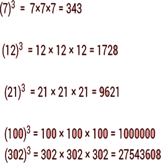 Image shows the cube and cube root of given number