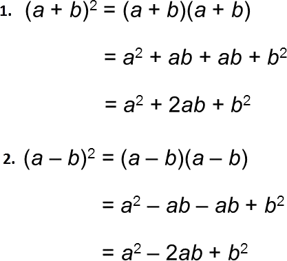 Formula of some algebraic expression