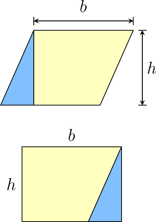 The area of a parallelogram it is equal to the product of the base the height,A=bh
