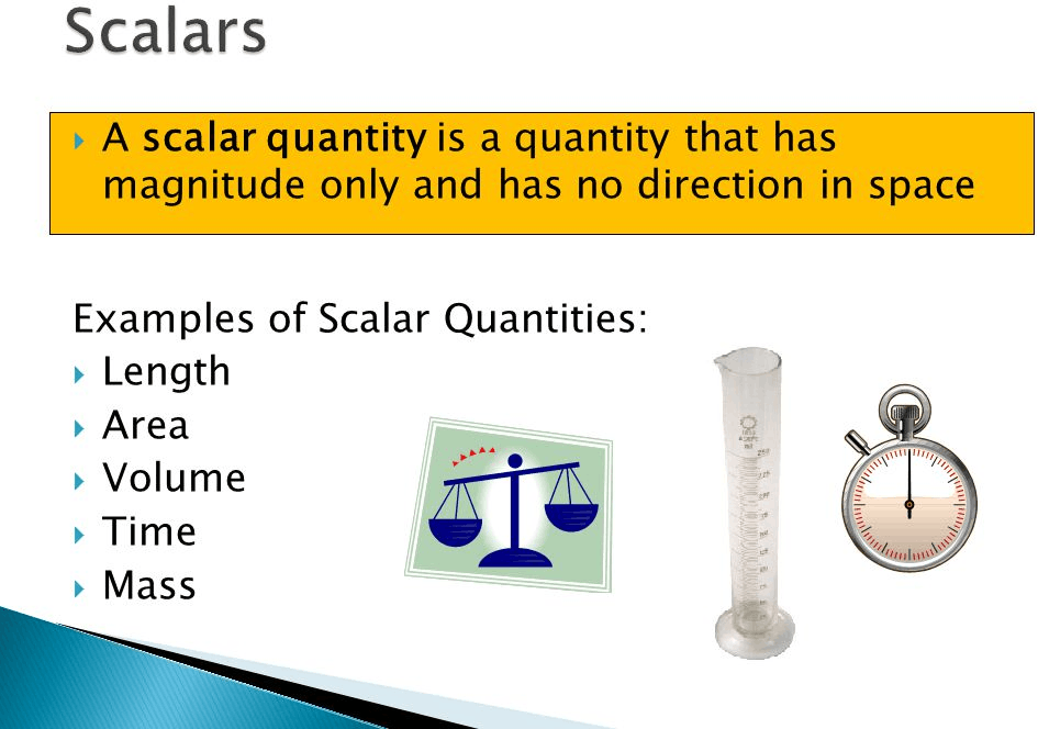 Figure shown scalars quantities and it's example.