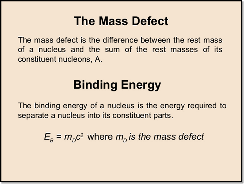 Mass defect and Binding energy definition