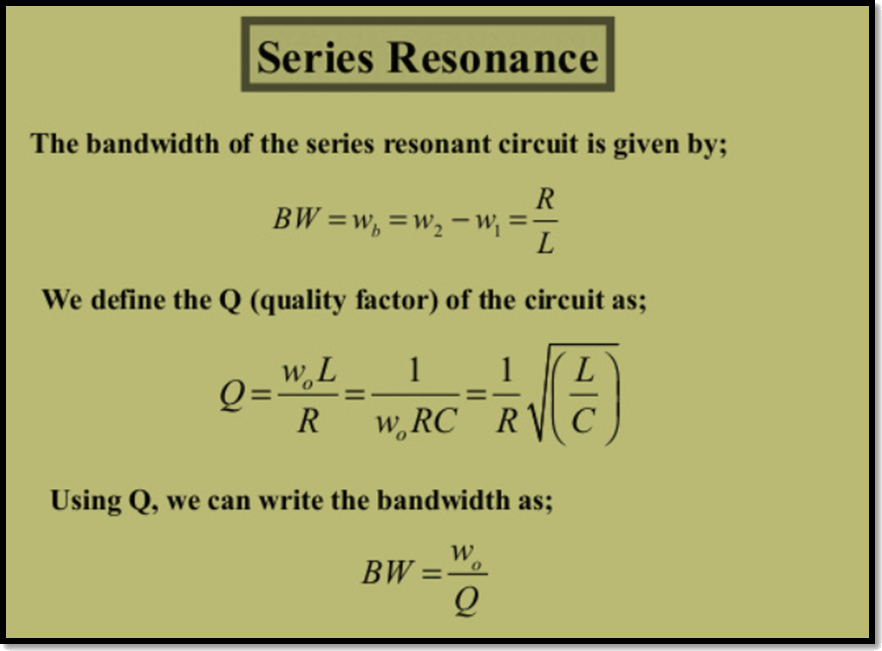 Series resonance Quality factor