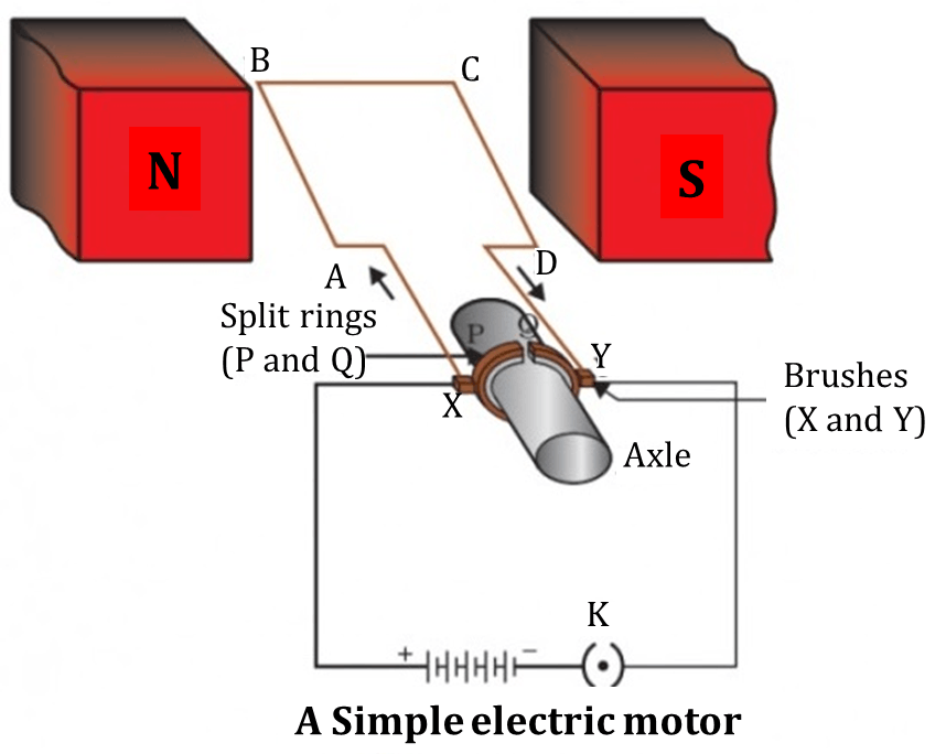 This diagram shows a simple electric motor