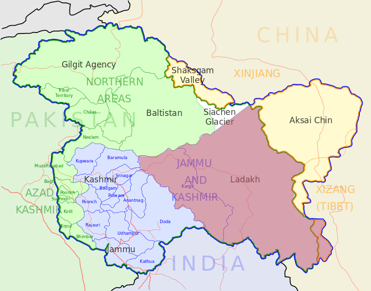 Image shows the location of Ladakh on Map