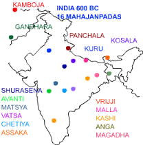 Map of India with cities important for Buddhisam