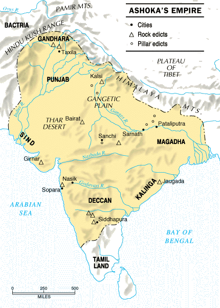 Ncert history class 6 notes of chapter 7 ashoka the emperor map of asoka emperor gumiabroncs Images