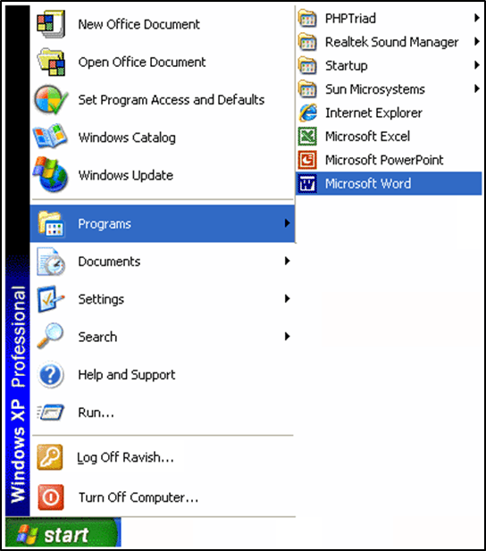 Main Features Of Word Processing Starting Ms Word Program Word Screen Layout Flexiprep