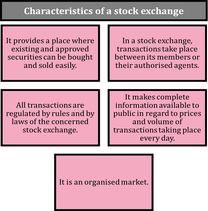 Characteristics of a stock exchange