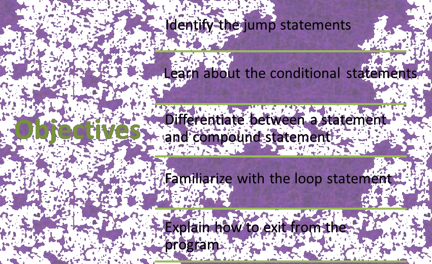 Image of Control Statements objectives