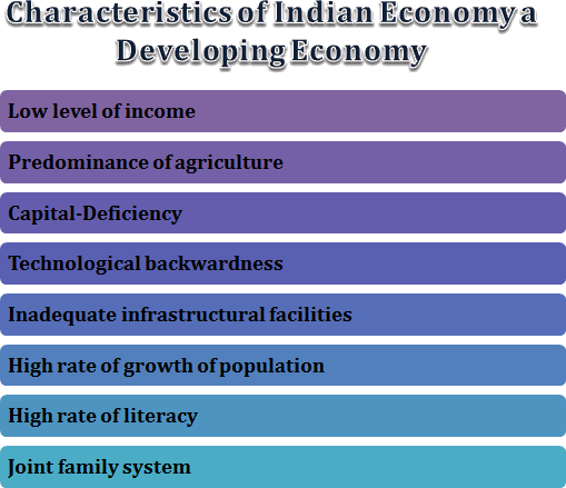 Various characteristics of Indian Economy a developing economy