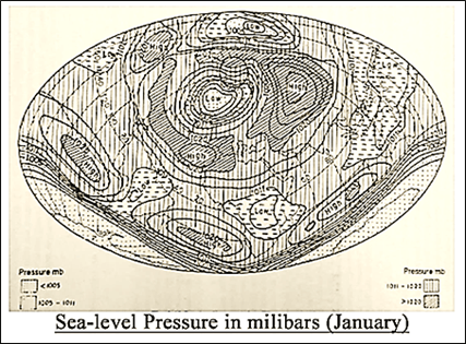 Sea level pressure in millibars